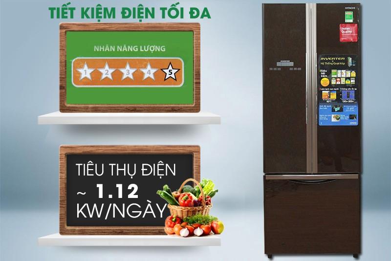 Tủ lạnh Hitachi 382 lít R-WB475PGV2-GBK tiết kiệm điện