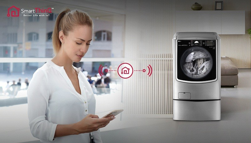Máy giặt Mini 3.5 kg LG T2735NWLV chuẩn đoán thông minh qua điện thoại
