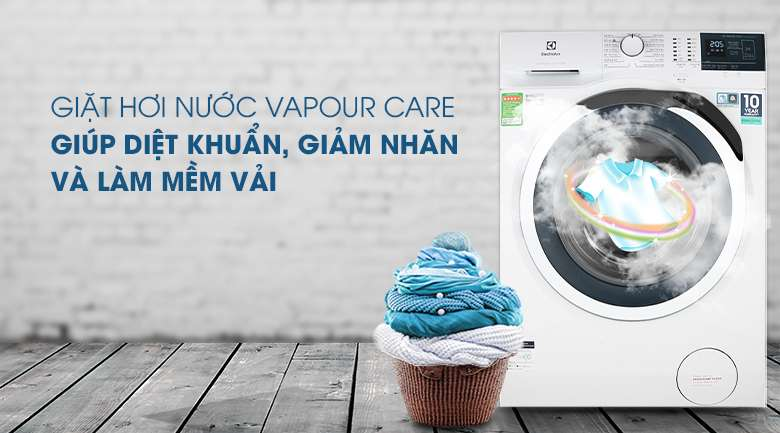 Giặt hơi nước Vapour Care - Máy giặt Electrolux Inverter 10 kg EWF1024BDWA