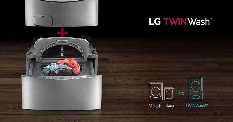 Máy giặt phụ - Máy giặt LG Twinwash Inverter F2719SVBVB & T2735NWLV