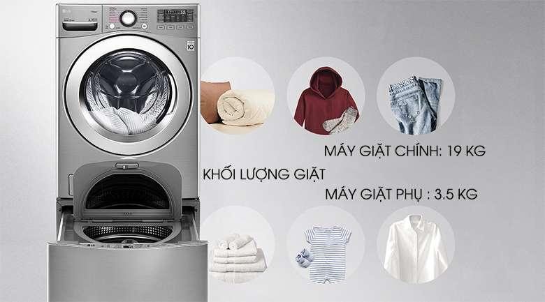 Khối lượng giặt - Máy giặt LG Twinwash Inverter F2719SVBVB & T2735NWLV