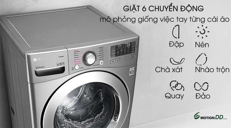 Giặt 6 chuyển động - Máy giặt LG Twinwash Inverter F2719SVBVB & T2735NWLV