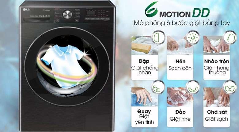 Công nghệ giặt 6 chuyển động - Máy giặt sấy LG Inverter 10.5 kg FV1450H2B