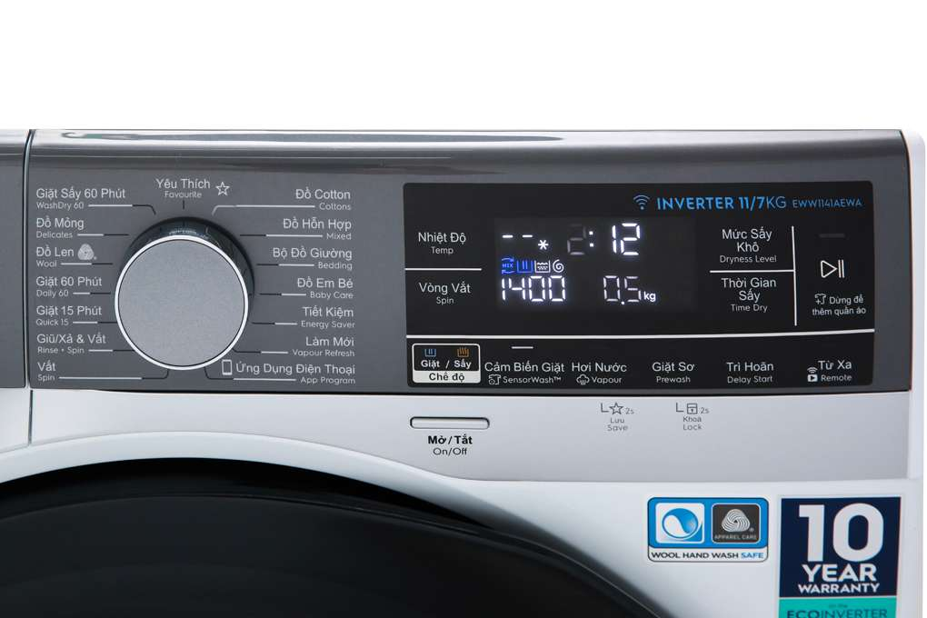 Máy giặt sấy Electrolux Inverter 11 kg EWW1141AEWA Mẫu 2019
