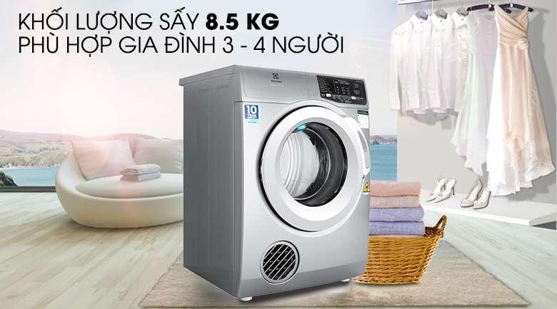Khối lượng sấy 8 kg - Máy sấy Electrolux 8 kg EDS805KQSA
