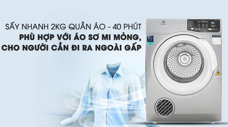 Sấy nhanh khoảng 2 kg quần áo trong 40 phút tiện lợi - Máy sấy Electrolux 8 Kg EDV805JQSA