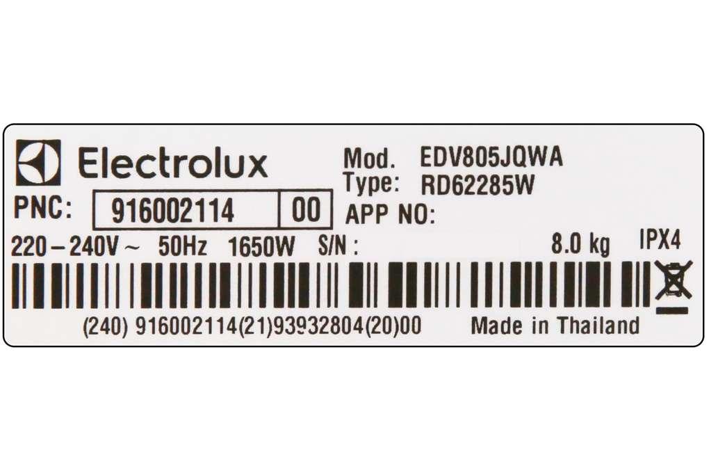 Máy sấy Electrolux 8 Kg EDV805JQWA Mẫu 2019