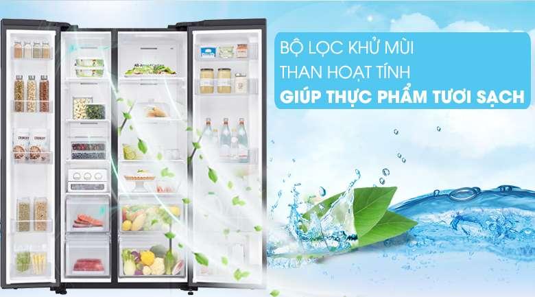 Bộ lọc khử mùi than hoạt tính trả lại không gian trong lành, không bám mùi hôi khó chịu - Tủ lạnh Samsung Inverter 647 lít RS62R5001B4/SV Mẫu 2019