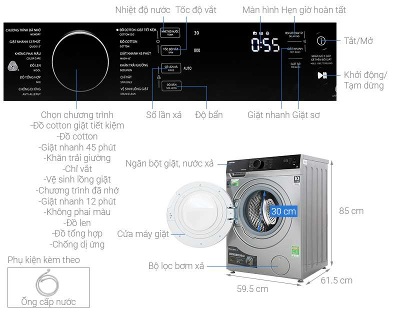 Thông số kỹ thuật Máy giặt Toshiba Inverter 8.5 kg TW-BH95M4V SK