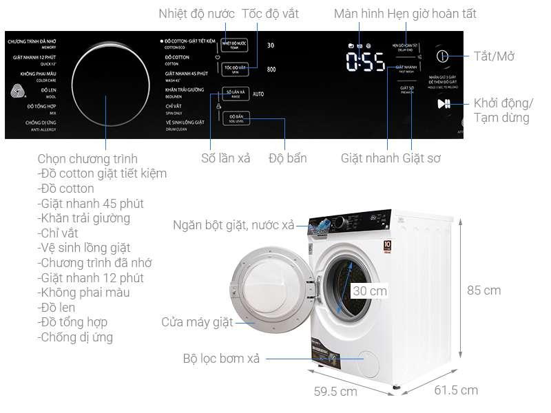 Thông số kỹ thuật Máy giặt Toshiba Inverter 8.5 kg TW-BH95M4V