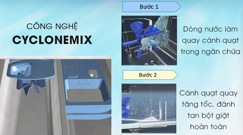 Công nghệ CycloneMix đánh tan bột giặt - Máy giặt Toshiba Inverter 8.5 kg TW-BH95M4V