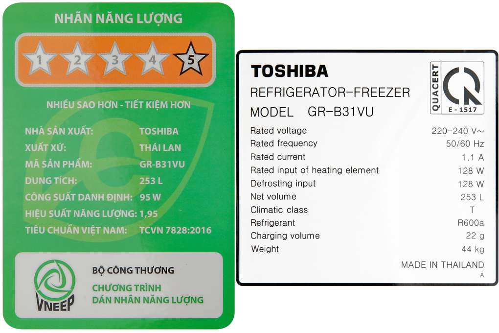 Tu Lanh Toshiba Inverter 253 Lit Gr B31vu Ukg