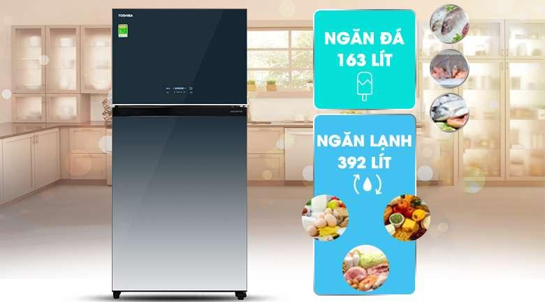 Tủ lạnh Toshiba Inverter 555 lít GR-AG58VA GG - dung tích 555 lít, phù hợp gia đình trên 5 người