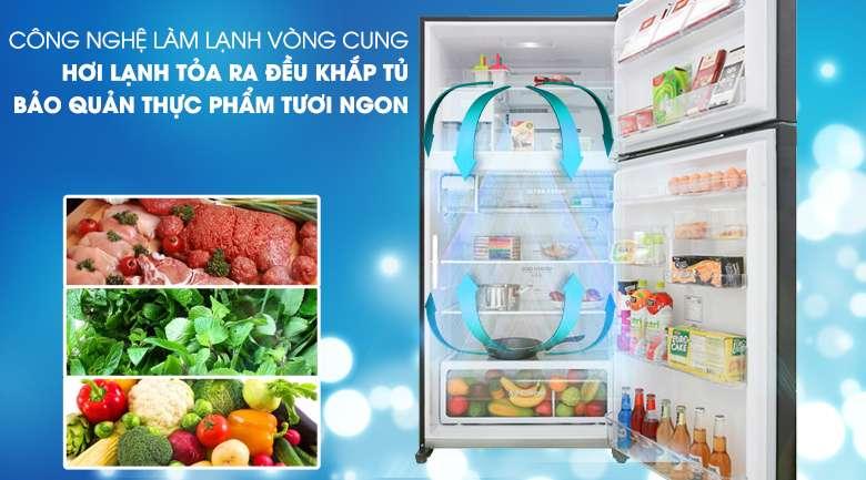 Tủ lạnh Toshiba Inverter 555 lít GR-AG58VA GG -Khí lạnh tan tỏa đều với công nghệ làm lạnh vòng cung