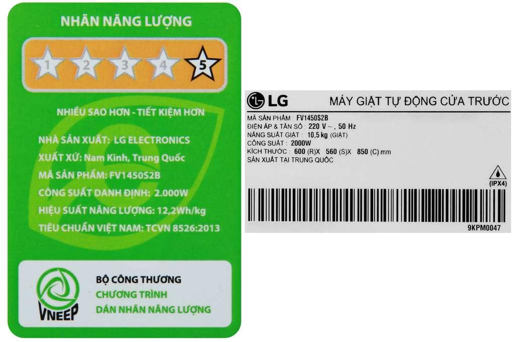 May Giat Lg Inverter 10.5 Kg FV1450S2B