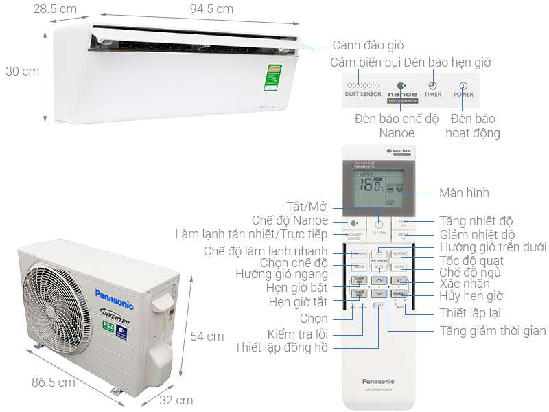 Thông số kỹ thuật Máy lạnh Panasonic Inverter 1.5 HP CU/CS-VU12UKH-8