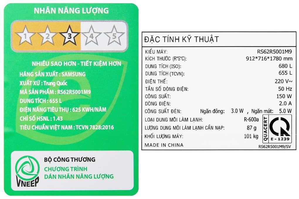 Tu Lanh Samsung Rs62r5001m9 Sv 12 Org